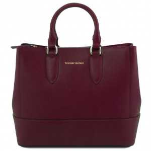 Tuscany Leather TL141638 TL Bag - Borsa a mano in pelle Saffiano Bordeaux