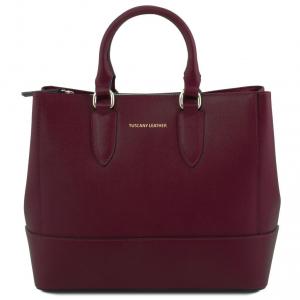 Tuscany Leather TL141638 TL Bag - Borsa a mano in pelle Saffiano Bordeaux