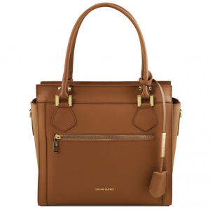 Tuscany Leather TL141644 Lara -  Borsa a mano in pelle con zip frontale Cognac