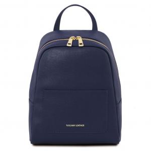 Tuscany Leather TL141701 TL Bag - Zaino piccolo in pelle Saffiano da donna Blu scuro