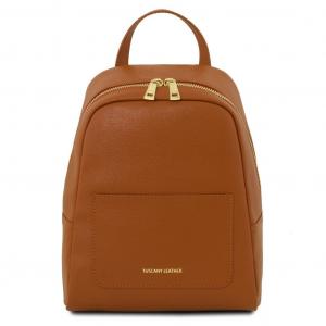 Tuscany Leather TL141701 TL Bag - Zaino piccolo in pelle Saffiano da donna Cognac