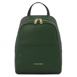 Tuscany Leather TL141701 TL Bag - Zaino piccolo in pelle Saffiano da donna Verde Foresta