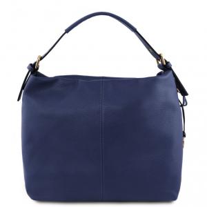 Tuscany Leather TL141719 TL Bag - Borsa hobo in pelle morbida Blu scuro