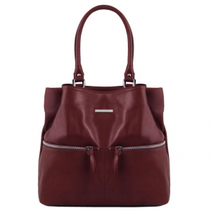 Tuscany Leather TL141722 TL Bag - Borsa a spalla in pelle con tasche frontali Bordeaux