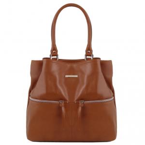 Tuscany Leather TL141722 TL Bag - Borsa a spalla in pelle con tasche frontali Cannella
