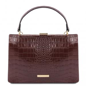 Tuscany Leather TL141839 Iris - Borsa a mano in pelle effetto cocco Bordeaux