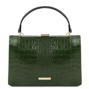 Tuscany Leather TL141839 Iris - Borsa a mano in pelle effetto cocco Verde Foresta