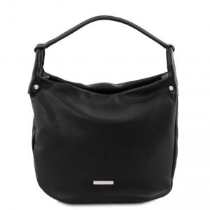 Tuscany Leather TL141855 TL Bag - Borsa hobo in pelle morbida Nero