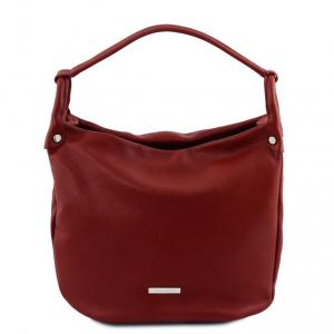 Tuscany Leather TL141855 TL Bag - Borsa hobo in pelle morbida Rosso