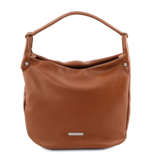 Tuscany Leather TL141855 TL Bag - Borsa hobo in pelle morbida Cognac