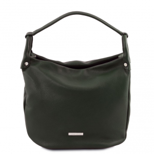Tuscany Leather TL141855 TL Bag - Borsa hobo in pelle morbida Verde Foresta