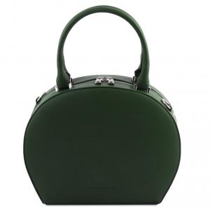 Tuscany Leather TL141872 Ninfa - Bauletto rotondo in pelle Verde Foresta