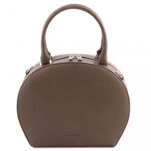 Tuscany Leather TL141872 Ninfa - Bauletto rotondo in pelle Talpa scuro