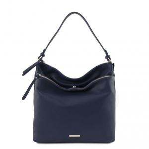 Tuscany Leather TL141874 TL Bag - Borsa a spalla in pelle morbida Blu scuro