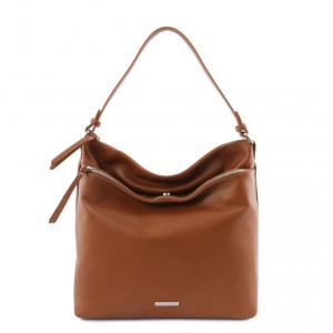 Tuscany Leather TL141874 TL Bag - Borsa a spalla in pelle morbida Cognac