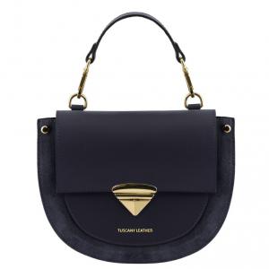 Tuscany Leather TL141882 Talia - Borsa a mano in pelle Blu scuro