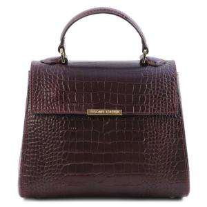 Tuscany Leather TL141887 TL Bag - Bauletto piccolo in pelle effetto cocco Bordeaux