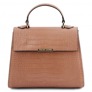 Tuscany Leather TL141887 TL Bag - Bauletto piccolo in pelle effetto cocco Nude