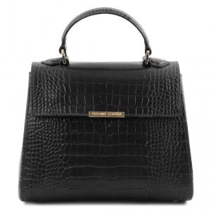 Tuscany Leather TL141887 TL Bag - Bauletto piccolo in pelle effetto cocco Nero