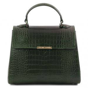 Tuscany Leather TL141887 TL Bag - Bauletto piccolo in pelle effetto cocco Verde Foresta