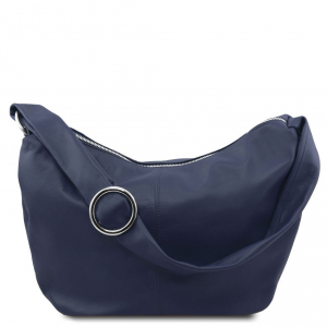 Tuscany Leather TL140900 Yvette - Borsa hobo in pelle morbida Blu scuro