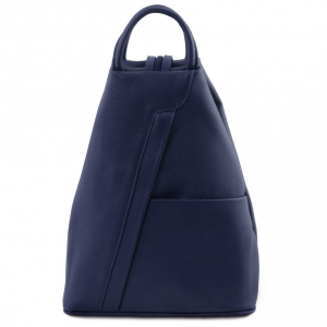 Tuscany Leather TL141881 Shanghai - Zaino in pelle morbida Blu scuro
