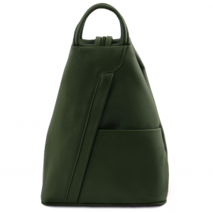 Tuscany Leather TL141881 Shanghai - Zaino in pelle morbida Verde Foresta