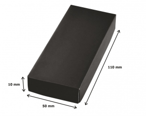 Portachiavi metallo pelle nera cm.9x4x1h