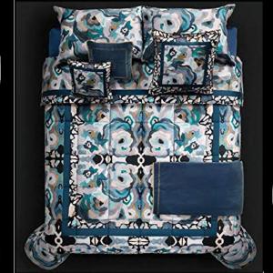 Roberto Cavalli Doppelblatt in CALEIDOFLORA blau satiniert