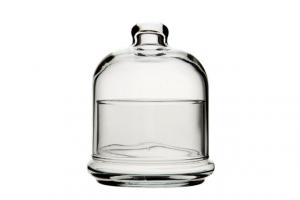 Contenitore per alimenti con piattino e cupola in vetro cm.9,5x9,5x16,5h