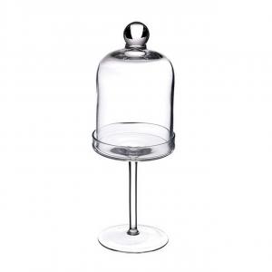 Alzata tonda per dolci in vetro con cloche in vetro cm.35,5h diam.12