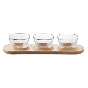 Set antipastiera Fenice 3 coppette vetro e vassoio in legno cm.38,5x11,5