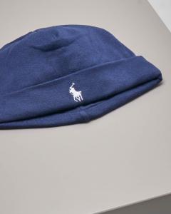 Berretto blu in jersey di cotone con logo pony