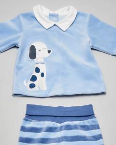 Completo maglia azzurra con cagnolino ricamato e ghettina a righe abbinata 1-4