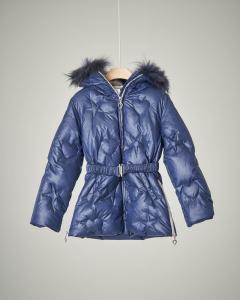 Piumino lungo blu con cintura e pelliccia 4-7 anni