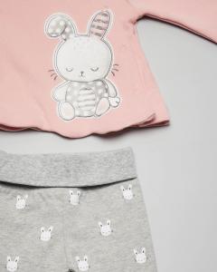 Completo maglia rosa con coniglietto ricamato e ghettina grigia 1-2