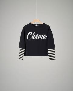 T-shirt nera manica lunga con stampa Cherie 40-44
