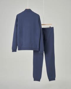 Tuta blu in puro cotone con logo piccolo stampato 12-14 anni