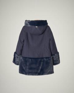 Cappotto blu bi-tessuto con inserti in pelliccia 4-8 anni