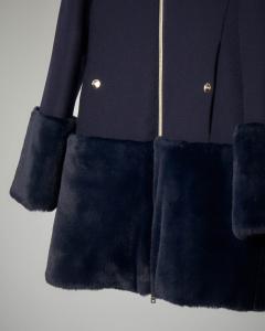 Cappotto blu bi-tessuto con inserti in pelliccia 10-14 anni