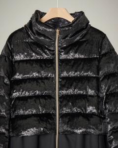 Cappotto nero bi-tessuto in velluto effetto glitter e tessuto tecnico 12-14 anni