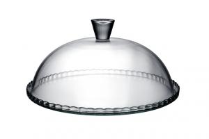 Piatto torta con cloche in vetro cm.32x32x18h