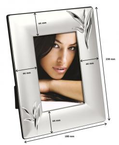 Cornice portafoto in silver plated con decoro foglie cm.1,6x18x23h
