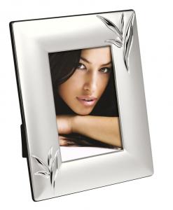 Cornice portafoto in silver plated con decoro foglie cm.1,6x21x26h