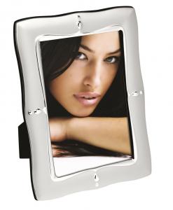 Cornice portafoto in silver plated con piccolo decoro cm.1,3x14,5x19,5h