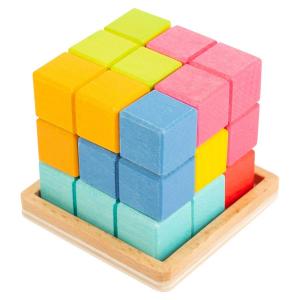 Dado 3D in legno con puzzle Tetris