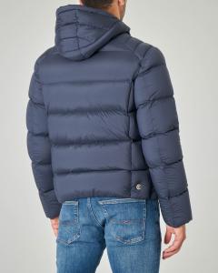 Piumino blu in tessuto stretch opaco con cappuccio fisso