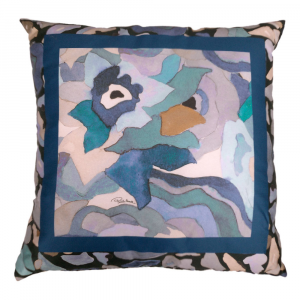 Cuscino da salotto ROBERTO CAVALLI Raso CALEIDOFLORA blu 40x40 cm