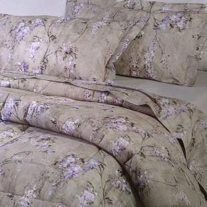 Set lenzuola-copriletto matrimoniale MIRABELLO WISTERIA floreale grigio
