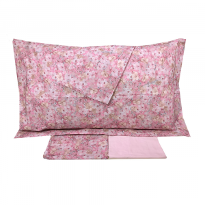Set lenzuola-copriletto matrimoniale MIRABELLO FIORI di HYDRANGEA rosa